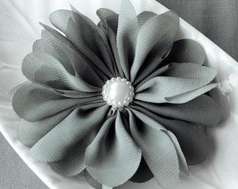3 Grey Chiffon Flower Soft Fabric Silk Pearl Ballerina Twirl Flower Bridal Wedding Baby Hair Comb Pin Headband SF165