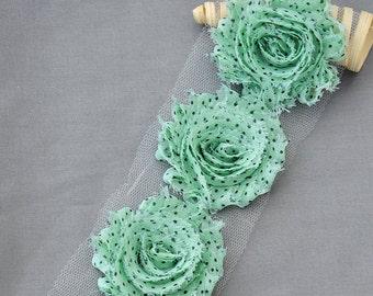 1 Yard 14 pcs Mint Green Black Polka Dot Shabby Flowers Shabby Rose Trim Printed Shabby Flower Chiffon Rose Trim Headband LA111