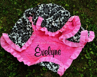 Baby Blanket - Dynasty - Hot Pink Minky - Satin Ruffle- Personalized - Baby Girl - Multiple Sizes