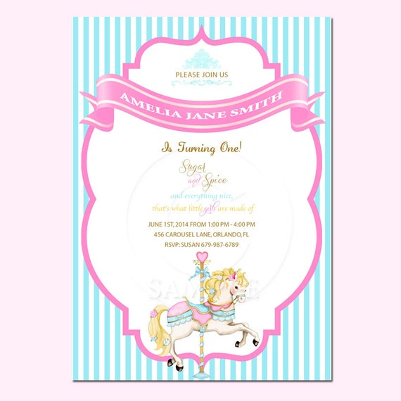 Printable custom Birthday invitation carousel horse DIGITAL