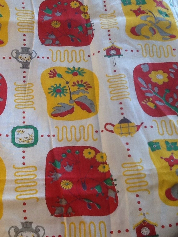 red and yellow kitchen curtains by contemporaryvintage on etsy