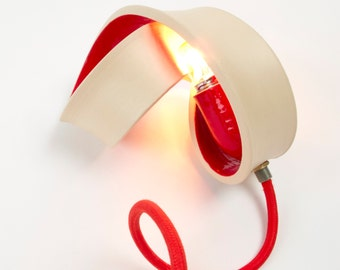 Ceramic Table lamp with a beautiful red shine: a illuminating sculpture MADE TO ORDER