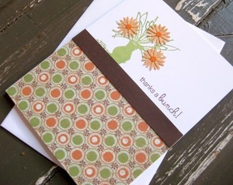 thanks a bunch with green vase and orange flowers - handmade greeting card