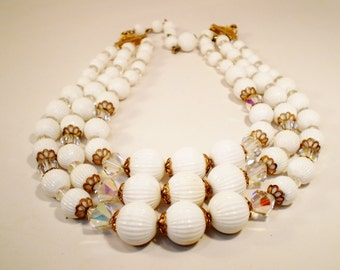 Vintage Necklace Collar / Choker 3 Strands Chunky White Pleated An AB Crystal Beads Gold Filigree Spacers Retro 1950s Mid Century  Bride