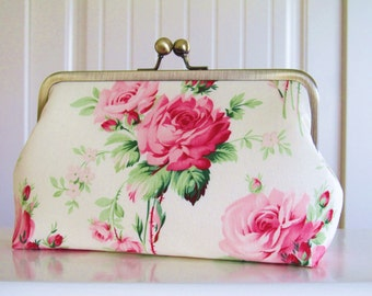 Bare Foot Roses Clutch,Bridal Accessories,Bridal Clutch,Bridesmaid Clutch,Floral Clutch,Wedding Clutch
