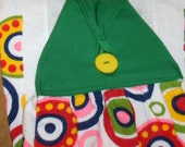 KITCHEN Towel #14 Button On Hanging, Green Bright Circles Terry Cloth Cotton US Gift Studio Laundry Utility Camping BBQ Work Shop Bathroom