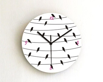 Birds on a wire black and white Modern Minimalist kitchen kids bedroom living room unique handmade graphic design wall clock