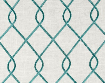 Duralee 73023-19 RICO, AQUA designer curtain panels, drapes Duralee embroidered rico aqua