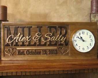 Personalized Wedding Gift Family Name Signs CARVED Custom Wooden Sign Last name Established Anniversary gift Personalized CLOCK on sign