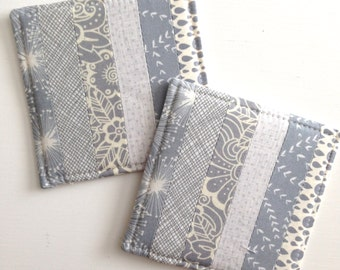 Coasters Quilted Made with Gorgeous Greys/Grays  Set of 2