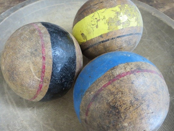 vintage croquet balls, old croquet balls, antique croquet balls, striped croquet balls, rustic, primitive, rugged, decorative, country
