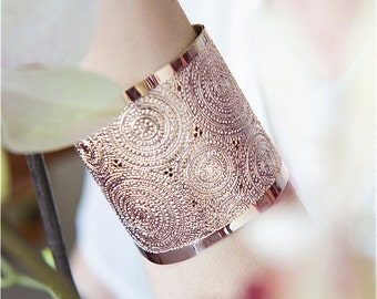 Rose Gold cuff, modern jewelry, Rose gold bracelet, dots and circles, wide rose gold bracelet, hammered rose gold cuff bracelet,
