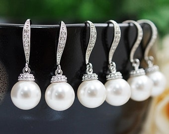 Weddings Bridesmaid Gift Bridal Pearl Jewelry Bridesmaid Jewelry Bridal Earrings Pearl Earrings Pearl drop dangle earrings (E-B-0045)