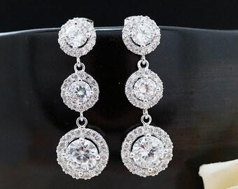 Wedding Jewelry Bridal Jewelry Bridesmaids Gift Bridal Earrings Bridesmaid Earrings Luxury Cubic Zirconia Halo style dangle Earrings