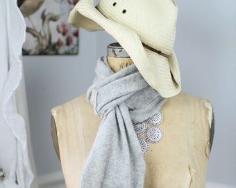 Lush, hand-crocheted scarves made from repurposed cashmere sweaters (in gray)