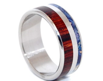Wooden Wedding Rings, Titanium Wedding Band, wedding rings, titanium rings, men's rings, women's rings, wood ring - BEYOND WAVES of LOVE