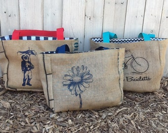 1 Semi - Custom Market Tote - Eco Friendly and Handmade from Recycled Coffee Sacks