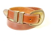 Reserved for Mor Vintage  Brown Leather Belt with decorative Buckle size small