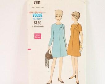 Vintage 1960s One piece Dress Sewing Pattern 7611 size 16 1/2