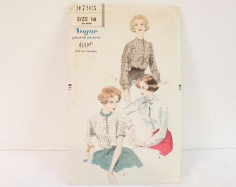 Vintage 1950s Vogue Blouse Pattern 9793 size 14