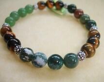 Tiger Eye, Moss Agate, Bloodstone and Green Aventurine Prosperity Abundance Attracts Money Bracelet V1