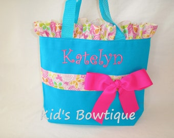 Butterflies Personalized Ruffles and Bow Tote Bag- Monogrammed Flower Girl Gift- Ribbon Purse