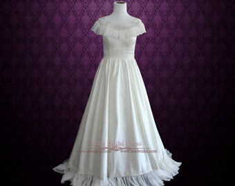 SALE - 50% OFF Modest Vintage Edwardian Style Wedding Gown in Satin and Chiffon with Embroideries | Cera | Size 0
