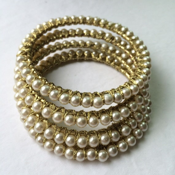 Pearl bangles set of 4 by meanneedle on etsy