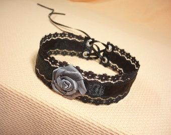 Black Victorian Lace Choker with Grey Rose, Gothic Necklace with Corset Tie, Elegant Wedding Jewelry, Vampire Bride Orient Belly Dance