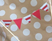 Mini Cake Banner Circus Carnival Theme Red & White Stripes