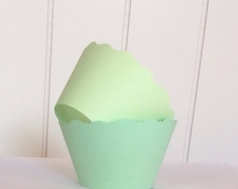 12 Mint Green Cupcake Wrappers -  Baby Showers Bridal Showers Wedding Celebrations