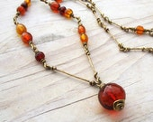 Long Genuine Baltic Amber Chain Necklace, Hammered Brass Chain, Wire Linked Brass Chain with Antique Red Cherry Amber Pendant,  OOAK