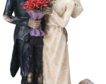 Halloween Bride and Groom Love Never Dies Gothic Wedding Cake Toppers - Hand Painted Couple Romantic Skeleton Lovers Gazing Figurines-LND1