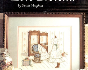 Let's Pretend Wedding Dress Paula Vaghan Victorian Gown Boots Bedroom Counted Cross Stitch Embroidery Craft Pattern Leaflet 680 Leisure Arts