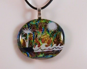 Dichroic Fused Glass Pendant, Island Dreaming, Rainbow dichroic background with white enamel tropical scene, PC1