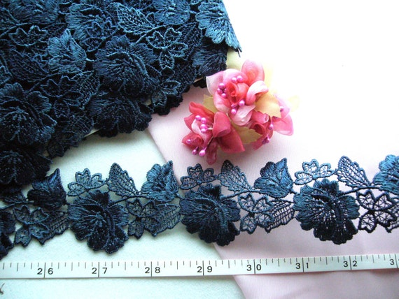 Embroidered trim, navy blue flowers venise venice trim 2 yards NT073