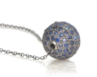 Pave' Natural Blue Sapphire and Sterling Silver 12mm Floating Bead Necklace - Recycled Nickel Free Silver - Ready to Ship