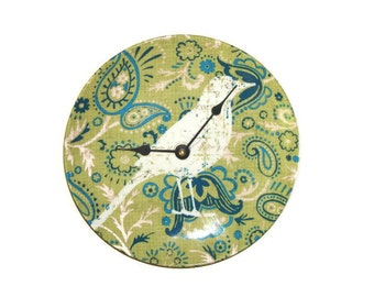Bird Wall Clock in Turquoise and Green Paisley, Bohemian Boho Wall Clock, Unique Wall Clock, Wall Hanging, Wall Decor, Office Decor - 1471