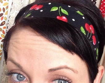 Black w/ Red Cherries and White Polka Dots - Stay Put Headband