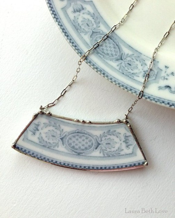 Broken China Jewelry Plate Necklace Ornate Antique Flow Blue Porcelain