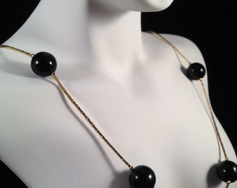 Vintage, Golden Necklace with Black Bead Spacers : N244