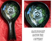 Hand painted ceramic spoon rest, raccoon, butterfly and leaves, Ginger J Critter Art