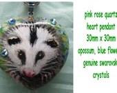 Opossum art straight from my heart, Hand Painted pink rose quartz heart pendant, Original, Ginger J