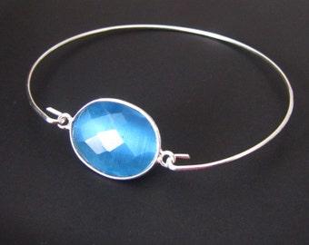 Sterling Silver Bracelet, Gemstone Bracelet, Blue Agate Bracelet, Bangle Bracelet, Jewelry, Friendship Bracelet, Gift