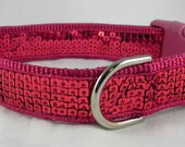 SALE Hot Pink Sequin Dog Collar SALE