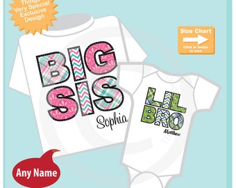 Set of Two Big Sister and Lil Little Brother Shirt Personalized Infant, Chevron and Plaid Toddler or Youth Tee Shirt or Onesie (07152014e5)