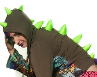 Upcycled Dino Hoodie- Ladies' Medium- Green and purple with UV Neon Spikes