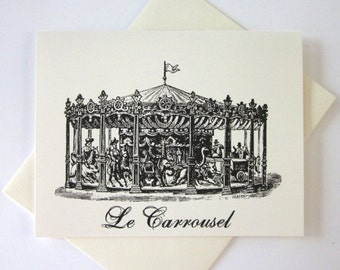 French Carousel Cards Set of 10 in White or Light Ivory with Matching Envelopes