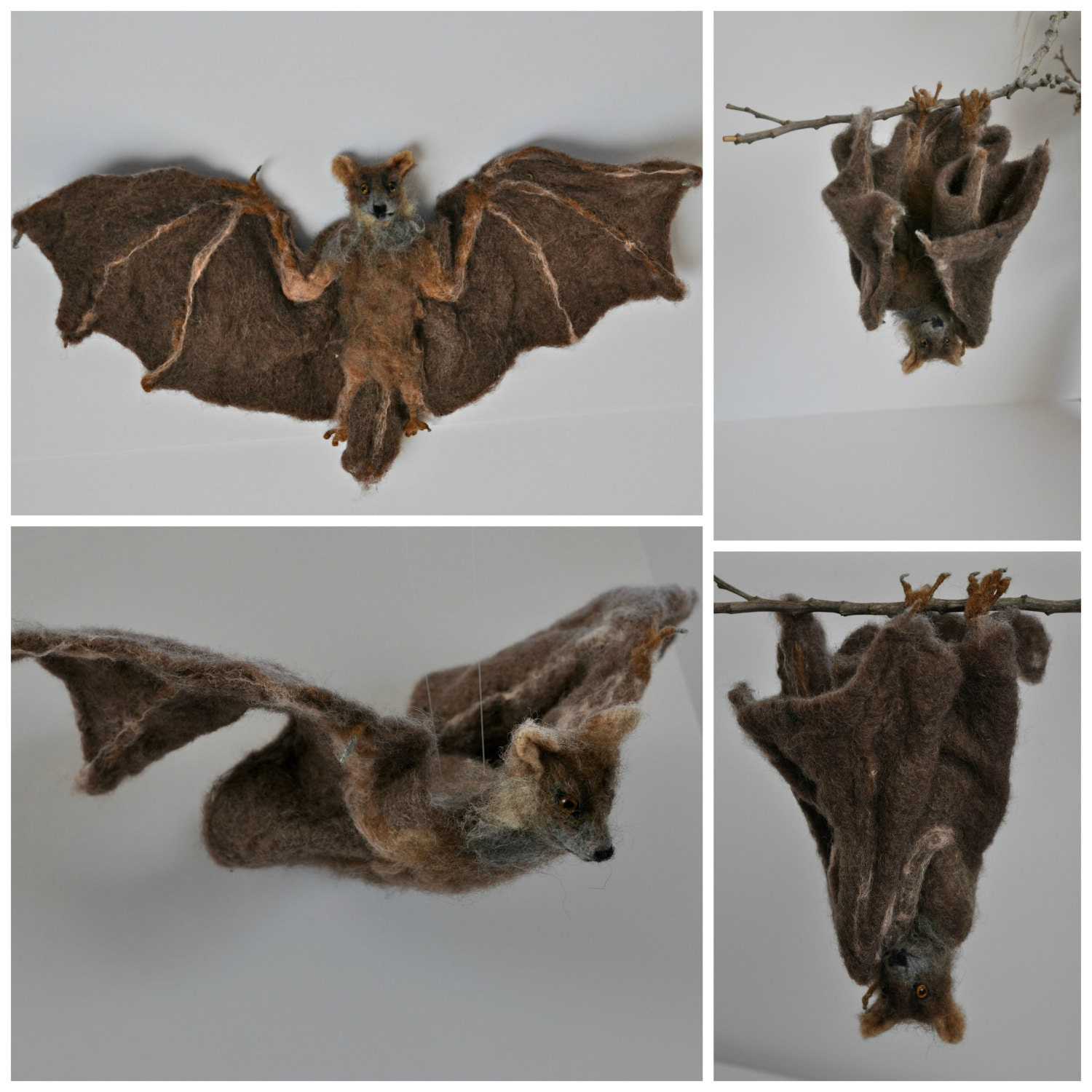 Needle felted animals bat halloween decoration for Animal decoration