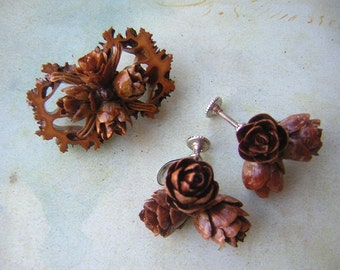 Vintage Jewelry Set Earrings and Brooch with Real Pinecones and Nut Shells - Woodland Jewelry